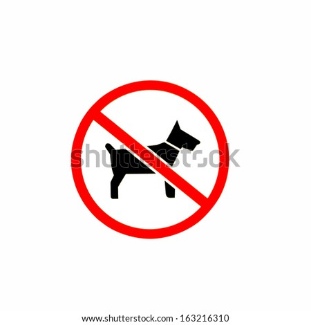 No dogs or pets allowed, warning sign, isolated round signage - stock photo