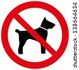 No dogs sign isolated on white background - stock photo