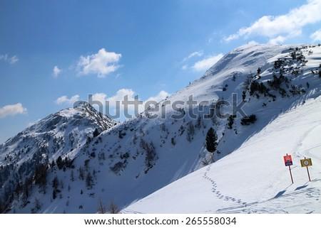 No entry- avalanche danger, Gasselhohe, Austria - stock photo