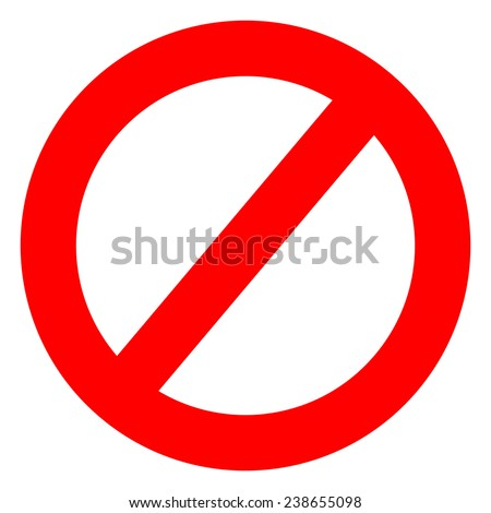 No Entry Sign Board on White Background
