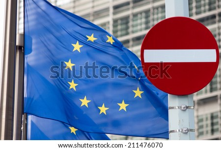 No entry sign in front of EU flag. Russia crisis concept. - stock photo