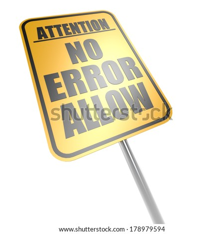 No error allow road sign - stock photo