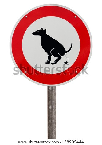 No exhaust place for dogs sign against white background - stock photo