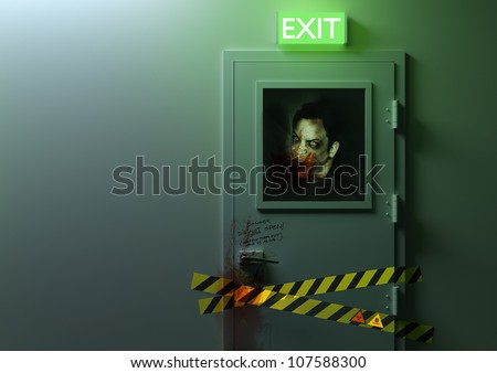No Exit - A zombie behind a door! - stock photo