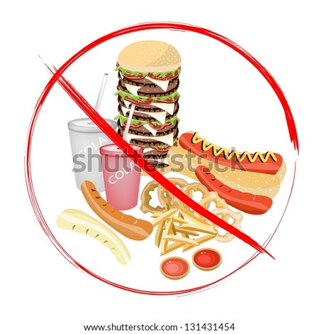 No Fast Food, An Illustration of Forbidden or Prohibition Sign on Different Types of Junk Food, Soda Drink, Hot Dog, Hamburger, French Fries and Onion Ring - stock photo