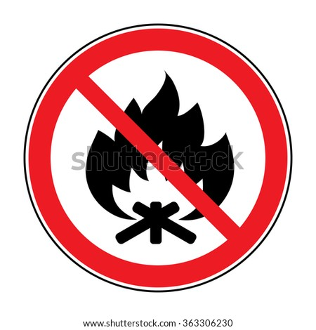 No Fire sign. Prohibits danger open flame icon. Black silhouette bonfire in red round isolated on white background. Forbidden warning flame symbol. illustration - stock photo