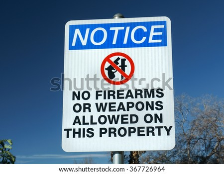 No firearms or weapons with red circle sign.
