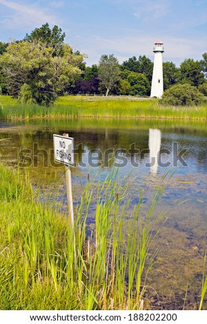 No fishing in the pond. - stock photo
