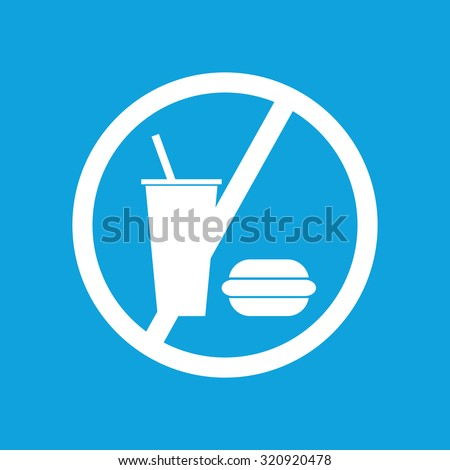 No food icon, simple white image isolated on blue background