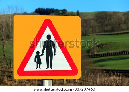 No footway warning sign - stock photo
