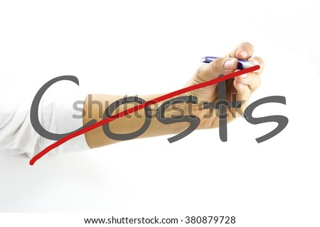 No Hidden Fees, no costs on white background. Business woman writing the words - No hidden fees - on a virtual interface with copyspace over white. No Hidden Charges  Illustration. - stock photo