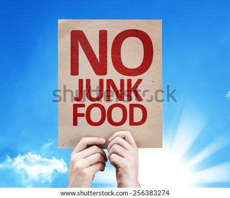 No Junk Food card with sky background - stock photo