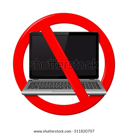 No laptop area sign on a white background