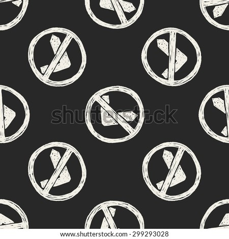 no left turn doodle seamless pattern background