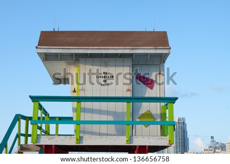 NO Lifeguard on Duty Lifeguard Tower across from 6th street and Ocean Drive at South Beach, Miami Florida - stock photo