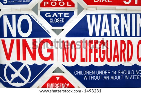 No lifeguard sign. - stock photo