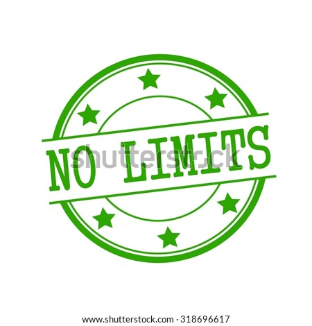No limit green stamp text on green circle on a white background and star