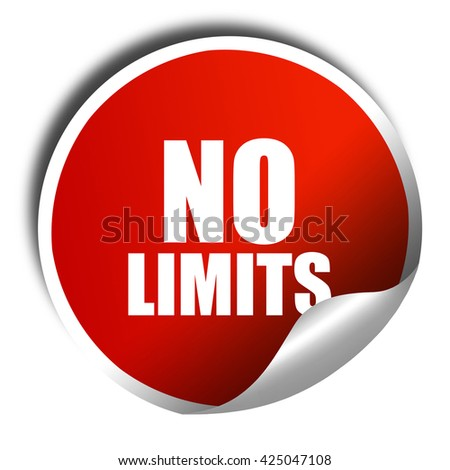 no limits, 3D rendering, red sticker with white text