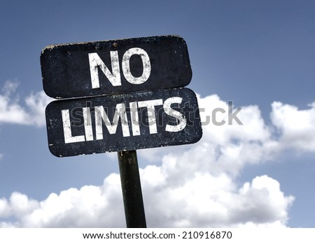 No Limits sign with clouds and sky background  - stock photo