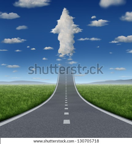 No limits success concept with a road or highway going forward fading into the sky with a group of clouds shaped as an upward arrow as a business symbol of financial freedom and aspirations. - stock photo