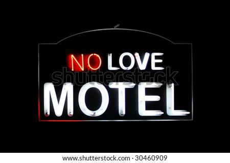 No Love Motel white and red neon sign - stock photo