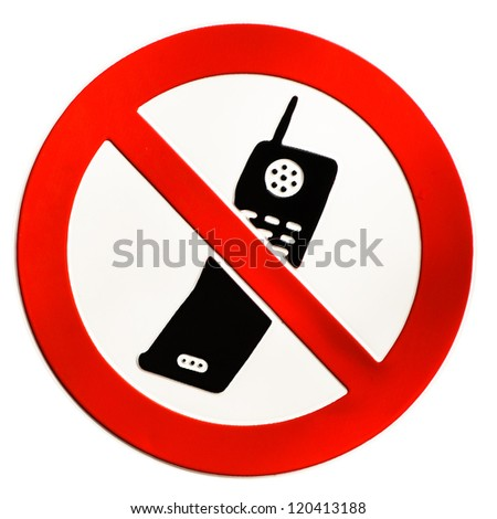 no mobile phones allowed sign at a school in munich - isolated on white background - stock photo