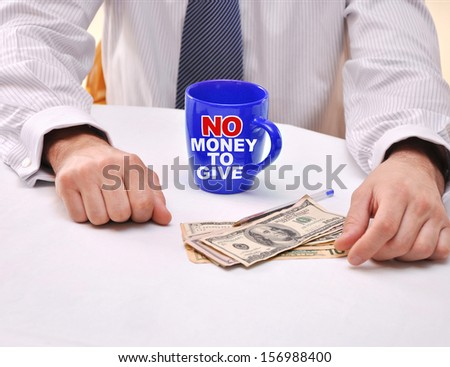 No Money to Give Cup of Coffee US Dollars Politician Hands