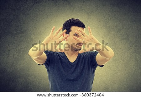 No More Concept,Stop Gesture.Portrait of a young man with raised hand making No more gesture.No more Unhealthy food,No more smoking,Alcohol. - stock photo