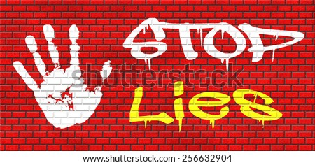 no more lies stop lying tell the truth and be honest no misleading or deception graffiti on red brick wall, text and hand - stock photo