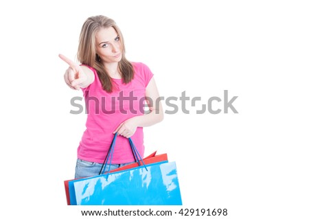 No more spending money concept with young shopaholic after a day of shopping isolated on white with copyspace - stock photo