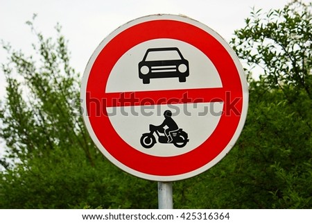 No motor vehicles traffic sign  - stock photo