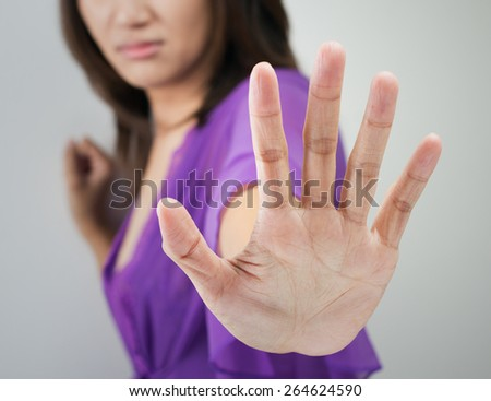 NO on her hand - stock photo