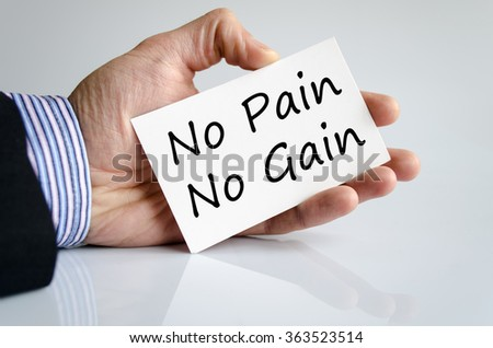 No pain no gain text concept isolated over white background - stock photo