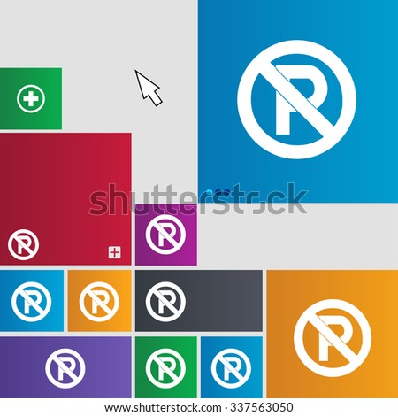 No parking icon sign. buttons. Modern interface website buttons with cursor pointer. illustration - stock photo