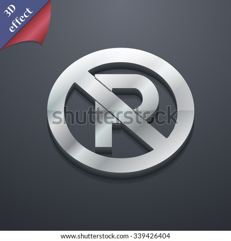 No parking icon symbol. 3D style. Trendy, modern design with space for your text illustration. Rastrized copy - stock photo