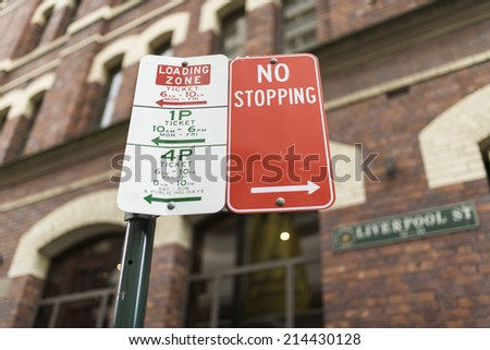 No Parking Sign and Limit Time Parking Sign - stock photo