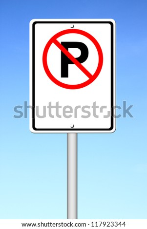 no parking sign blank for text with blue sky