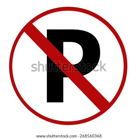 No parking sign on white - stock photo
