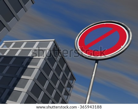 No parking signage with modern urban buildings and a slightly cloudy sky in background - stock photo