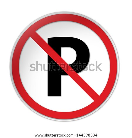 No Parking - Traffic Sign isolated on white background - stock photo