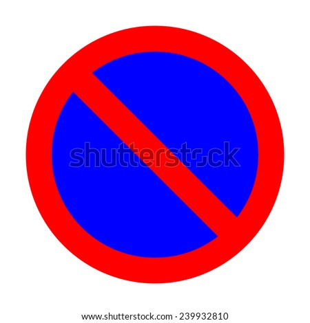 No parking traffic sign on white background - stock photo