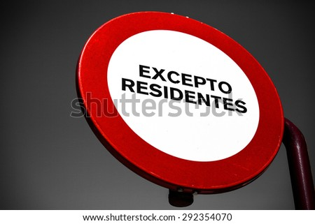 No passing. Traffic sign in Spanish language in Andalusia - stock photo