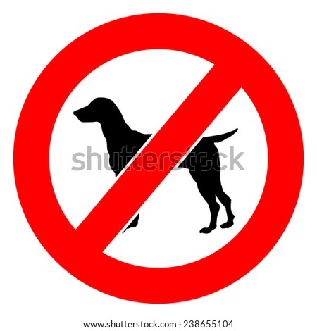No Pet Allowed Sign Board on White Background - stock photo