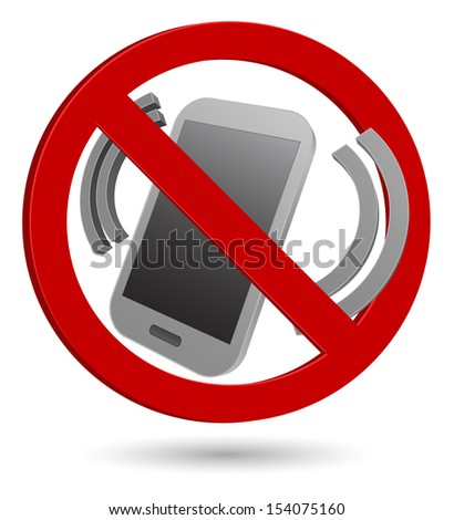 no phone 3d sign - stock photo