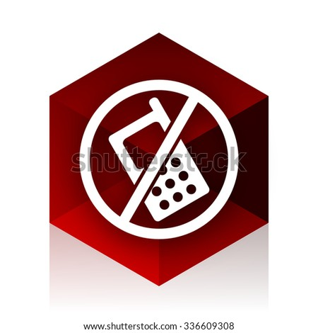 no phone red cube 3d modern design icon on white background  - stock photo