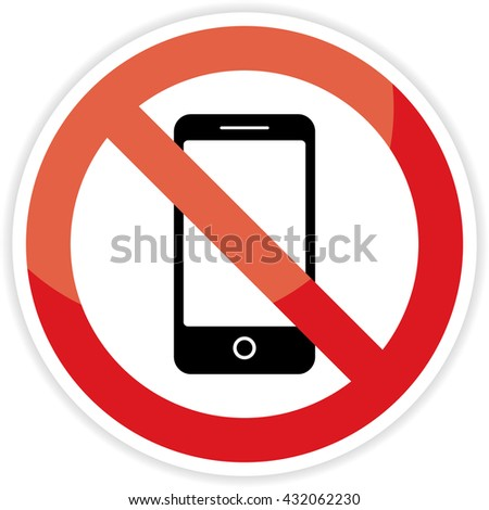 No phone sign on white background. - stock photo