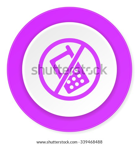 no phone violet pink circle 3d modern flat design icon on white background  - stock photo