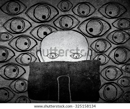 no privacy concept black and white digital illustration - stock photo