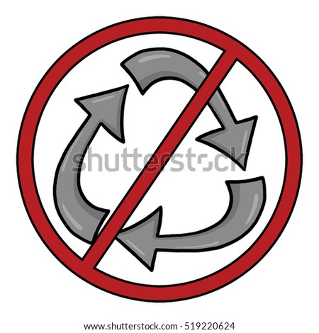 No recycling symbol; No recycling icon