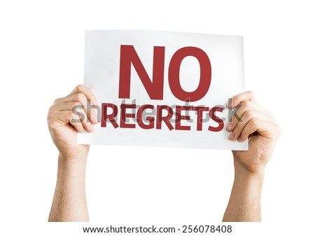 No Regrets card isolated on white background - stock photo
